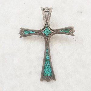 Jewelry - Large Southwestern Turquoise Cross 925 Pendant